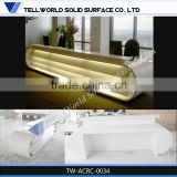 LED lighting salon furniture reception desk white gloss