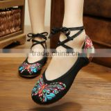 Women Chinese Vintage Old Peking Cloth Shoes Butterfly Flower Embroidery Comfortable Ladies Casual Flats