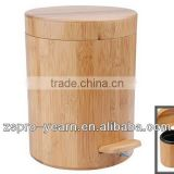 Bamboo Wooden Trash Garbage Can Dustbin Rubbish Ash Bin Waste Basket with Foot Pedal and Flip Up Lid for Bathroom Sanitary Use