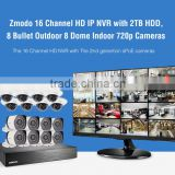 Zmodo 16 Channel HD IP NVR with 2TB HDD, 8 Bullet Outdoor 8 Dome Indoor 720p Cameras