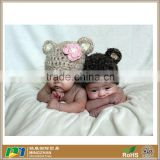 Two Baby Bear Knit Hat Made with Soft Mohair Blend Yarn and Flower Clip