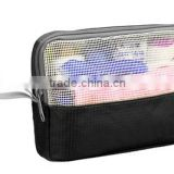 China supply polyester & mesh makeup beauty cosmetic bag toiletry bag makeup organizer
