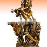 Brass Krishna With Cow Statue