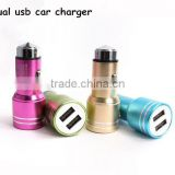 Metal Dual USB Car Charger Car Accessories, Safety Hammer Car Charger