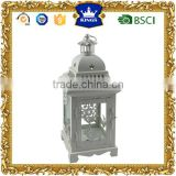 Christmas decoration white metal candle lantern with snow and deer design