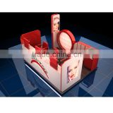 orange color customize mall hair salon furniture including barber stations and makeup display stand
