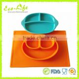 2pcs set 499G+255G BPA Free Food Grade Silicone Smile Baby Divided Bowl Plate, Children Dinner Plates