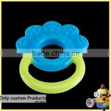 Customized sunflower bpa free baby silica baby teether/ made custom baby teether rings rattle chewable soft toys manufacturer