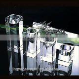 Handmade crystal glass table white 3 arm candelabra with 3 arm