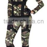 Womens Sexy long sleeve Navy Green Camo Military Army Jumpsuit and rompers Harness Halloween Costume