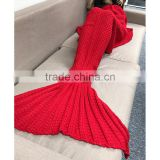 Adult red Sleeping Bag Crochet Mermaid Tail Blanket