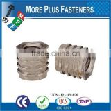 Made in Taiwan Stainless Steel Self Tapping Groove Pin Threaded Insert Threaded Nut For Plastic