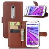 Leather case for motorola moto g3 with card slot with holder with wallet