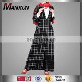 Fashion Business Wear Black and White Plaid Cardigans Tailored Collar Front Open Muslim Abaya