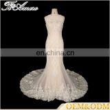 2017 Wedding Expo Newest Lace Beading Mermaid Wedding Dress See-through Back Off-shoulder Fishtail Dress Tiamero 1A1150