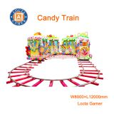 Zhongshan amusement theme park equipment Rail Train 14 Seat Candy Train Kids track, electric train