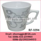 Beautiful Flower Designed Glazed Zibo Made Porcelain Cup Customized for Promotion Coffee Cup