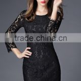 Black lace fabric Long sleeve cultivate one's morality dress design