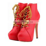 Ladies' Round Toe Wedding Stilleto Front Lace Ankle Boots / Woman Short Boots/Ankle Boots Woman High Heel Shoes