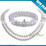 Factory Wholesale Best Selling Fashion 6-6.5mm Double-rowed Freshwater Pearl Necklace and Bracelet Jewelry Set