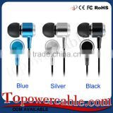 High Quality 3.5mm Metal Latest Fashion Earphones Earbud Headphone Headset With Mic Blue