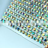 120*45cm Aluminum Setting Hot Fix Crystal Rhinestone Strass Mesh Trimming, Transfer Crystal Strass Rhinestone Rolls Wholesale
