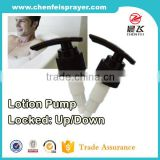 Long nozzle plastic soap dispenser lotion pump for up down lock in black color for Body lotion pump ribbed closure