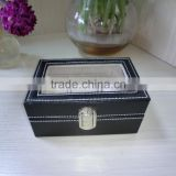 luxury black leather shadow window lid watch box gift box lint lock front black jewelry leather box