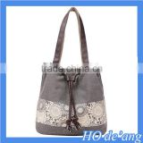 Hogift Drawstring Cord Lace Bucket Cross Body Handbag Canvas Tote Bag