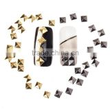 Nail Art Decoration 4mm Silver Gold Square Metallic Nail Rhinestone Studs DIY Nail Beauty Accessories