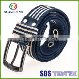 Professional manufacturer customize fashion alloy buckle colorful durable braided webbing cotton belt with genuine leather