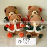 2-colour lovely promotional customized stuffed plush christmas bear toy with embroidered christmas garment&glove