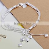 wholesale jewelry fashion 2014 heart snake chain 20CM 925 sterling silver bracelet