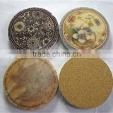 2014 newly designed marble absorbent stone coaster coaster with cork bottom cork coaster with adhesive