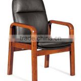 Antique Chinese style round headrest and upholstered PU leather wood frame office guest chair(FOHF-77#)