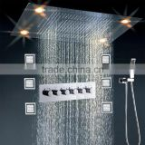 Luxury led rain and waterfall showerhead recessed ceiling mounted electric shower heads with hot cold water mixer