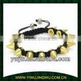 Gold Plated Black Cord Braided Gold Spike Bracelet Jewellery(JW-G1032)