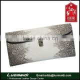 2015 New fashion lizard skin leather lady purse , exotic leather lady clutch bag,genuine ticket travel wallet card holder
