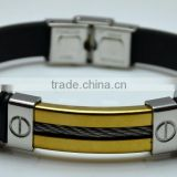 High Quality Black Leather Bands Gold Plated Cuff Steel Wrap Single Steel Wire Side Carved Negative Electrode Mens Bracelets