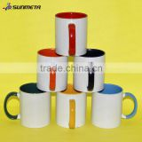 Wholesale white blank outside and color inside ceramic sublimation mug