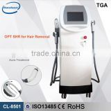 Semi conductor + water+ air cooling system 2 handles multifunction shr machine super hair removal