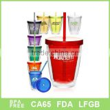 clear double wall acrylic tumbler with lid and tube