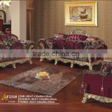 BISINI Luxury Neo-classic Living Room Sofa Set, Antique Solid Wood Gold-foil Sofa Set