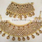 Golden crystal broad payal ANKLETS pair feet bracelet BRIDAL WEAR