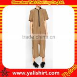 Custom high quality casual cheap bulk zipper front polyester/spandex wide leg short sleeve women jumpsuits and rompers