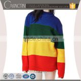 oversize drop shoulder sleeve multi-color block pullover knitted crew neck pattern sweater