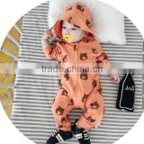 S17711A Baby Autumn Cartoon Bear Pattern Hooded Cotton Romper