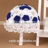 Hot new products for hot deals paper flower royal blue silk flowers/Sapphire Wedding Mosaic Pearl And Diamond Romantic Bouquet