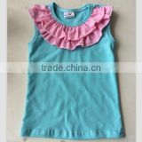 cotton candy clothing brand wholesale plain white baby t shirts boutique baby double ruffle shirt