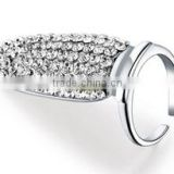 Factory price clear shiny Crystal Fingernail Ring Design/ silver plated stertch ring jewelry
